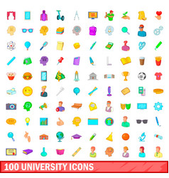 100 university icons set cartoon style vector