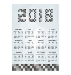 2018 simple business wall calendar grayscale vector