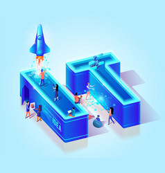 3d neon effect isometric letters it creative font vector image