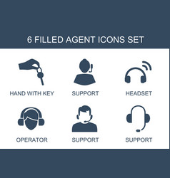 6 agent icons vector