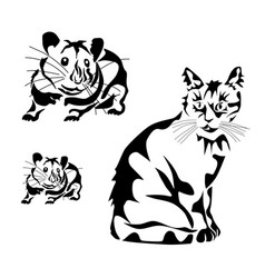 a cat stencil tattoo vector image