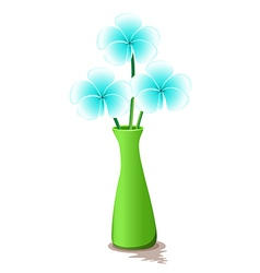 A green vase with fresh flowers vector