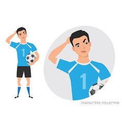 Asian football player is pensive thinking vector