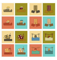Assembly flat icons disaster earthquake and flood vector