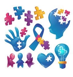 autism awareness icons puzzle pieces child head vector image