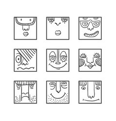 avatars doodle set vector image vector image