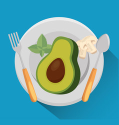 Avocado with nutrition facts vector