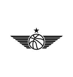 Basketball ball icon with wings and star mockup vector