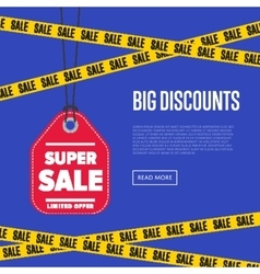 Big discount banner with sale sticker vector image