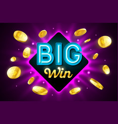 Big win bright casino banner with big win vector