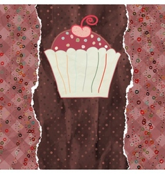Birthday card with cupcake EPS 8 vector image