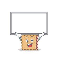 Biscuit cartoon character style with up board vector