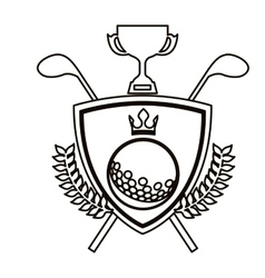 black contour shield with olive branchs with golf vector image