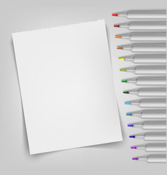 Blank sheet with markers template for your vector
