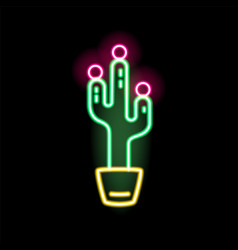 bright glowing neon cactus in pot flat vector image