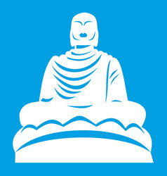 Buddha statue icon white vector
