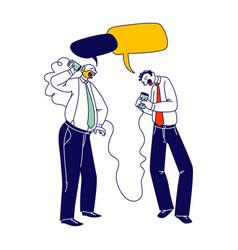 business men characters speaking vintage deaf vector image
