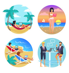 business summer seaside set vector image
