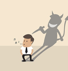 Businessman with his devil shadow vector image