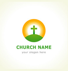 Calvary cross church logo vector