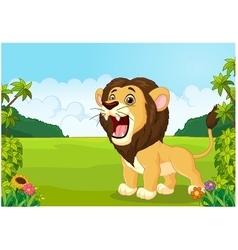 Cartoon lion roaring vector