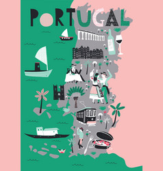 cartoon map portugal with legend icons vector image