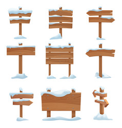 cartoon wooden winter signs with snow caps set vector image