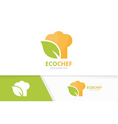 chef hat and leaf logo combination kitchen vector image