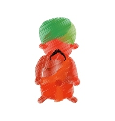 colored hand drawing indian man mustache turban vector image