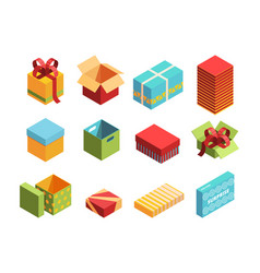 colorful packages isometric 3d vector image