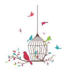 Colorful tree with birds and birdcages vector