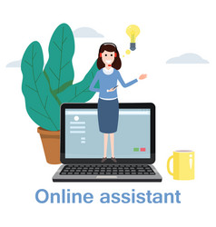 Concept online assistant customer and operator vector