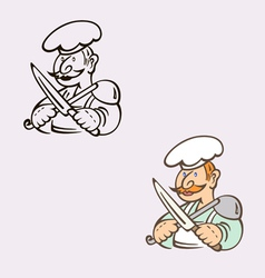 Cook with knife and ladle vector