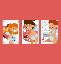 cupid babies banners vector image