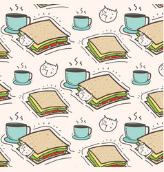 Cute cat sandwich and coffee pattern background vector