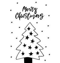 Cute greeting card with Christmas tree vector