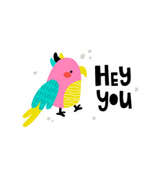 Cute parrot and text vector