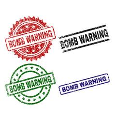 Damaged textured bomb warning stamp seals vector