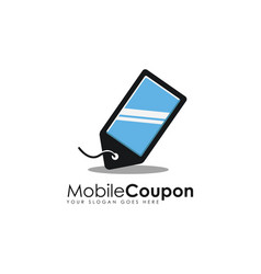 Discount coupon and mobile phone logo icon vector