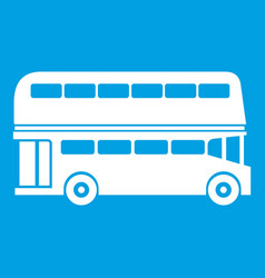 double decker bus icon white vector image