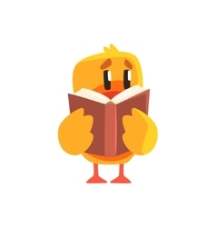 Duckling reading a book cute character sticker vector