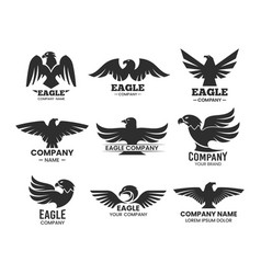 Eagle or falcon black silhouettes for branding vector