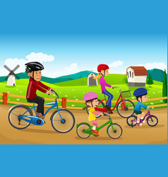Family going biking together vector