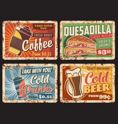 fast food metal plates rusty drinks snacks menu vector image