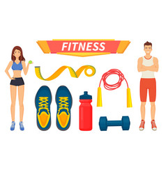 fitness sport people icons set vector image