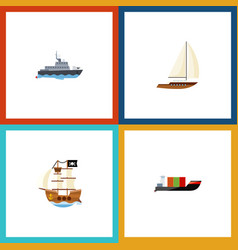 flat icon vessel set of ship yacht vessel and vector image