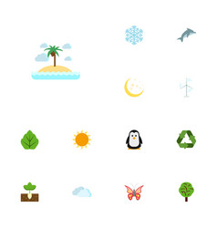 flat icons winter snow wood conservation and vector image