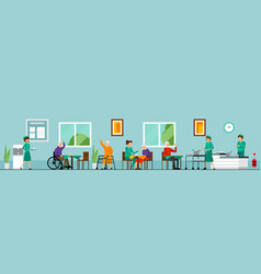 Flat nursing home characters composition vector