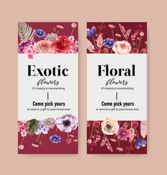 Floral wine flyer design with rose anemone vector