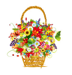 flower bucket vector image